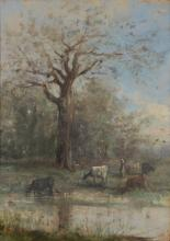 Barbizon School (French 19th Century) - Cattle in a landscape