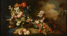 Manner of Jan P. Gillemans the Younger Still life with flowers and fruit on...