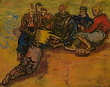 Anthony Gross (British 1905-1984) - Group of Fisherboys, Cambrils