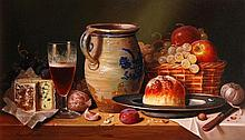 Raymond Campbell (b.1956) - Still life of wine, cheese, fruit and pottery