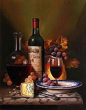 Raymond Campbell (b.1956) - Still life of wine, fruit and cheese