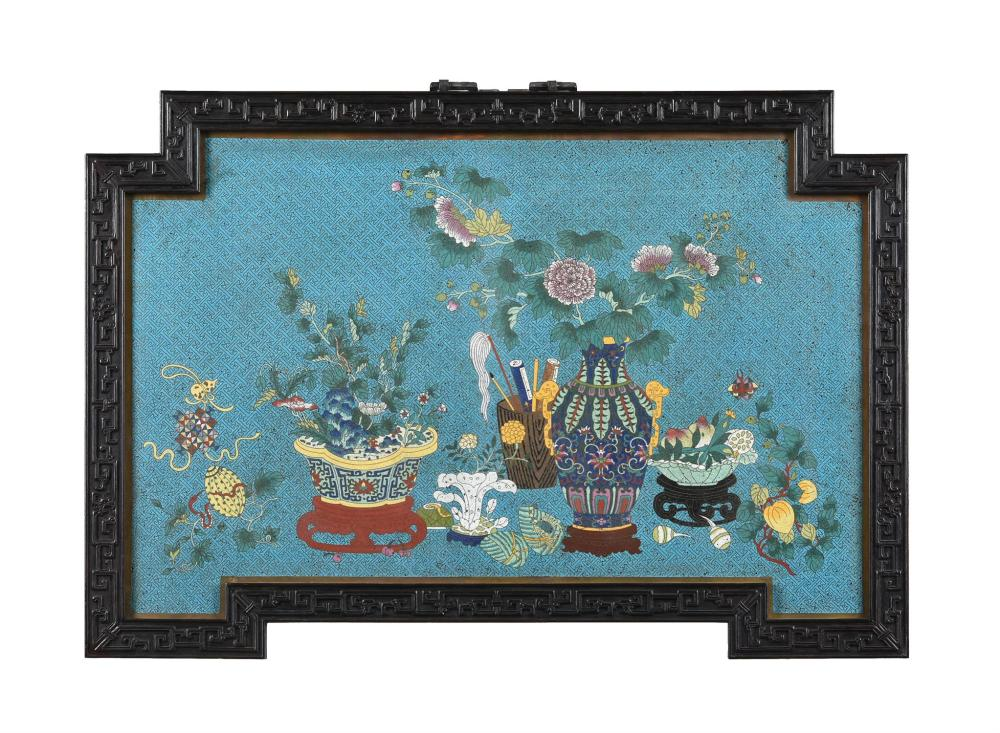 A large Chinese cloisonné enamel hanging wall panel