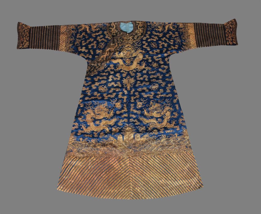 A fine Chinese blue 'dragon' robe