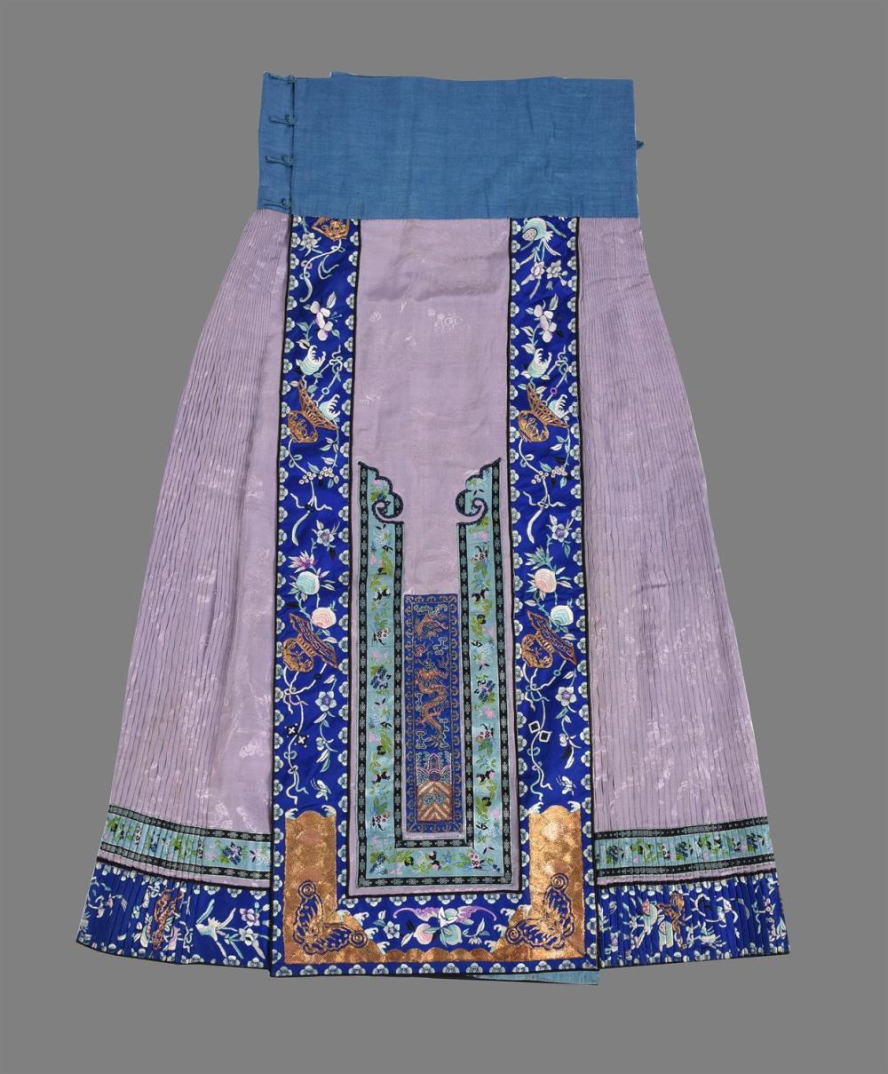 An attractive Han Chinese pink damask silk skirt