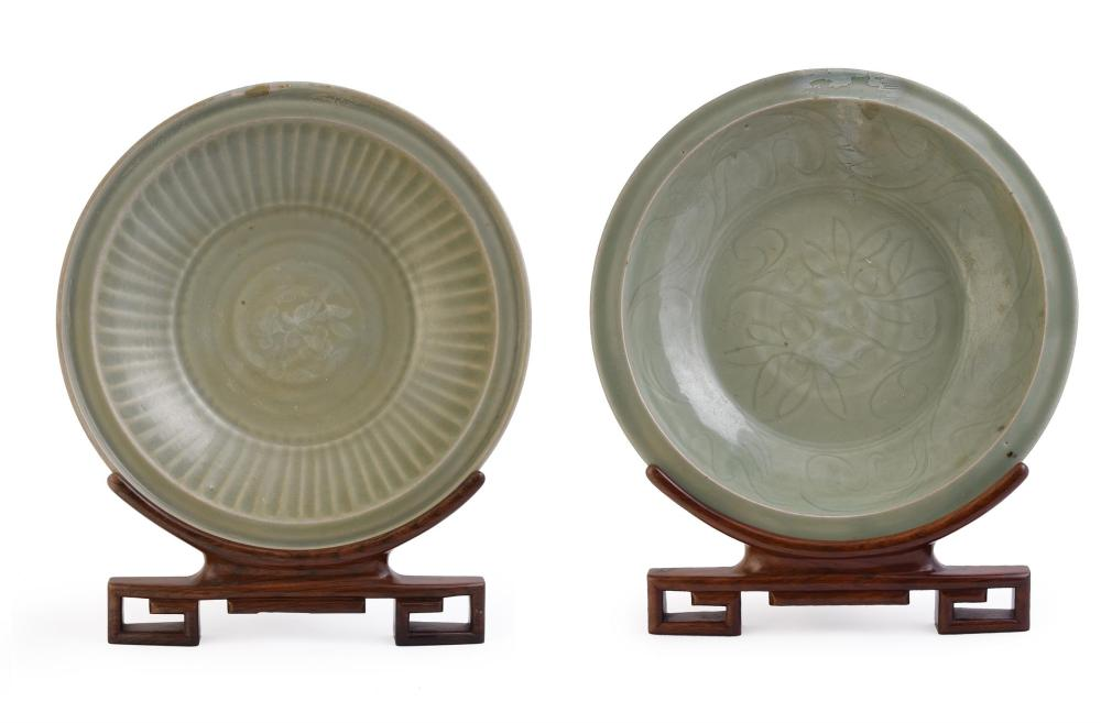 Two Chinese Longquan celadon dishes
