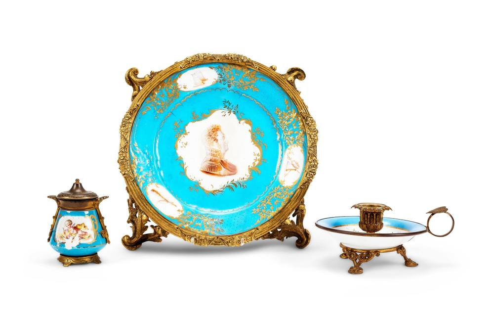A TURQUOISE-GROUND GILT-METAL-MOUNTED SEVRÈS-STYLE PLATE