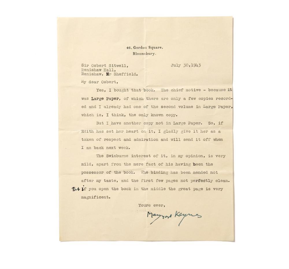 KEYNES, JOHN MAYNARD. (1883-1946). T.L.S. SIGNED, TO SIR OSBERT SITWELL, BLOOMSBURY, 1943