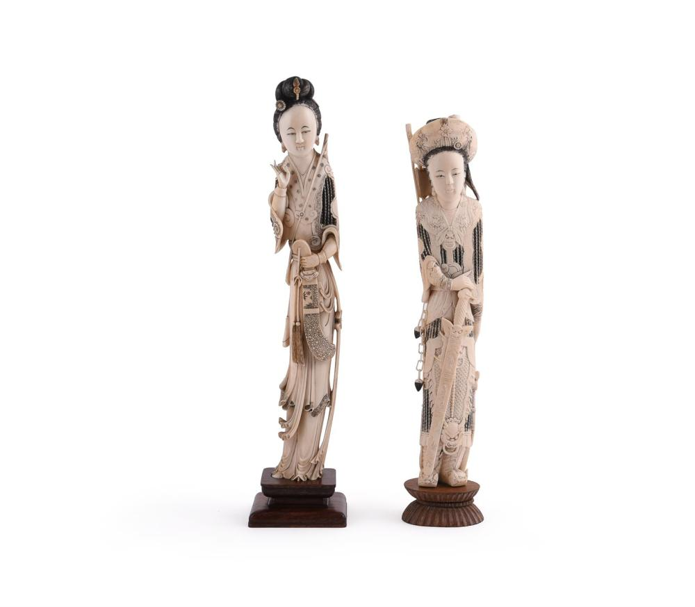 Y Two Chinese carved ivory figures of a Maidens