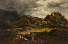 Sidney Richard Percy (British 1821-1886), Sheep in a Welsh landscape