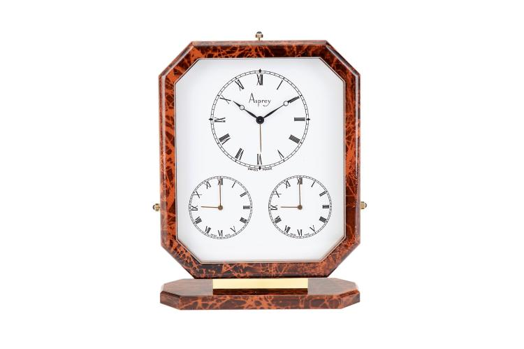 Asprey A Gilt Metal And Brown Lacquer Triple Time Zone Alar