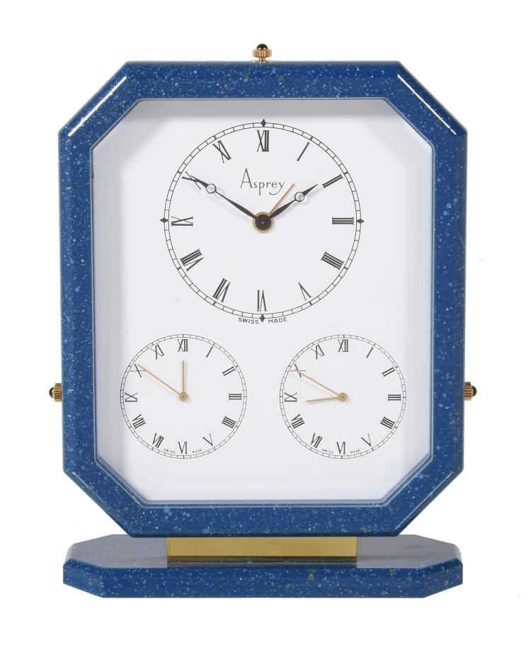 Asprey A Gilt Metal And Blue Lacquer Triple Time Zone Alarm