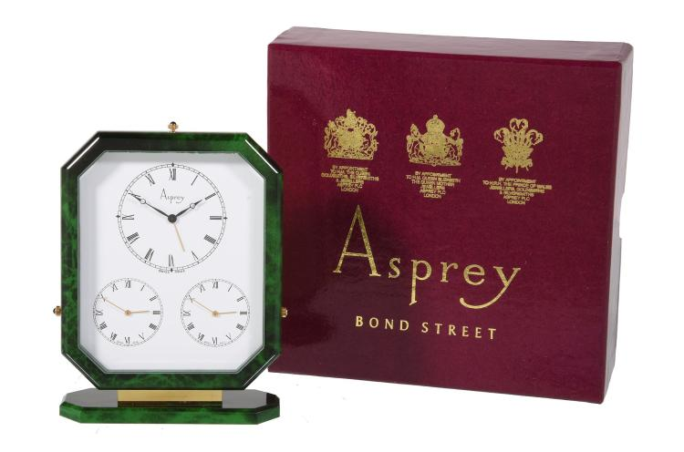 Asprey A Gilt Metal And Green Lacquer Triple Time Zone Alar