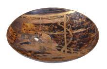Y A large tortoiseshell Sakezuki of typical circular form raised on a splayed foot