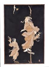 Y A Pair of Japanese black lacquer panels