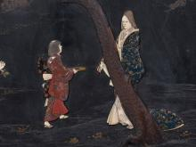 Y A large Japanese lacquer panel of rectangular form decorated in various techniques with an attendant approaching a rather wistful looking lady beside a pine tree in a garden
