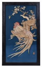 Y A pair of rectangular blue lacquer Japanese panels