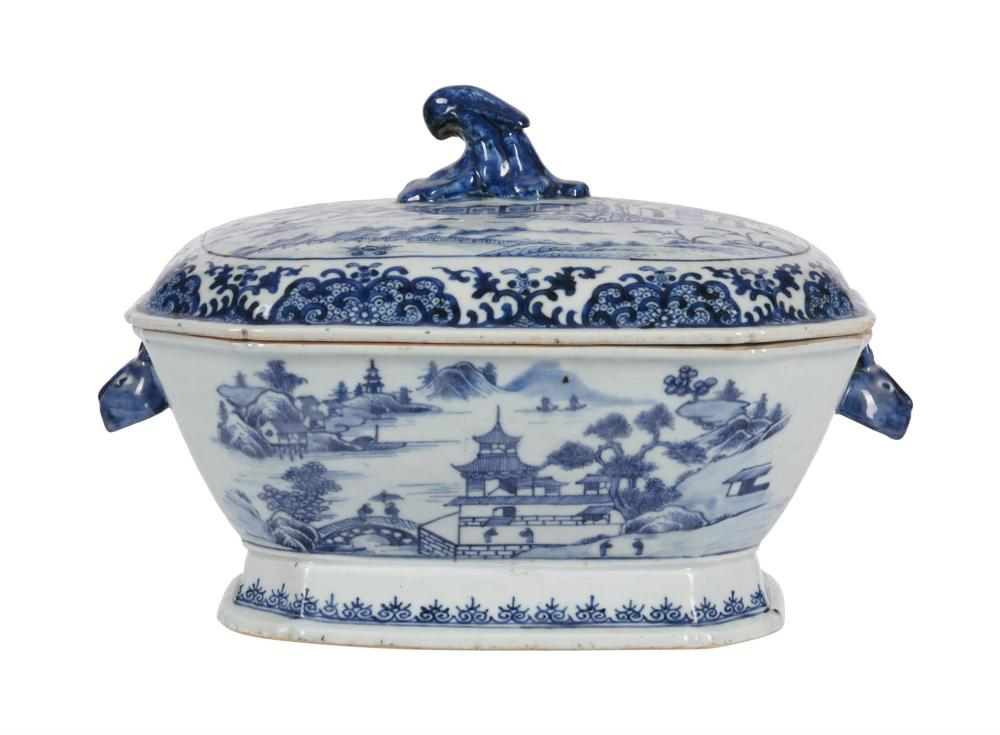 A Chinese Export porcelain blue and white tureen and cover