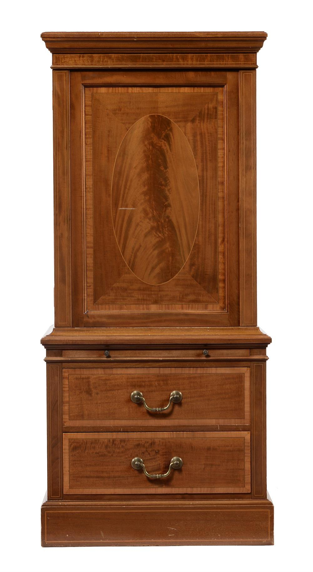 An Edwardian mahogany, banded and inlaid shoe cabinet