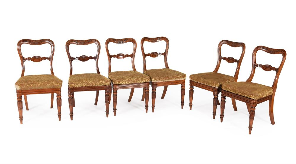 A set of six William IV padouk dining chairs