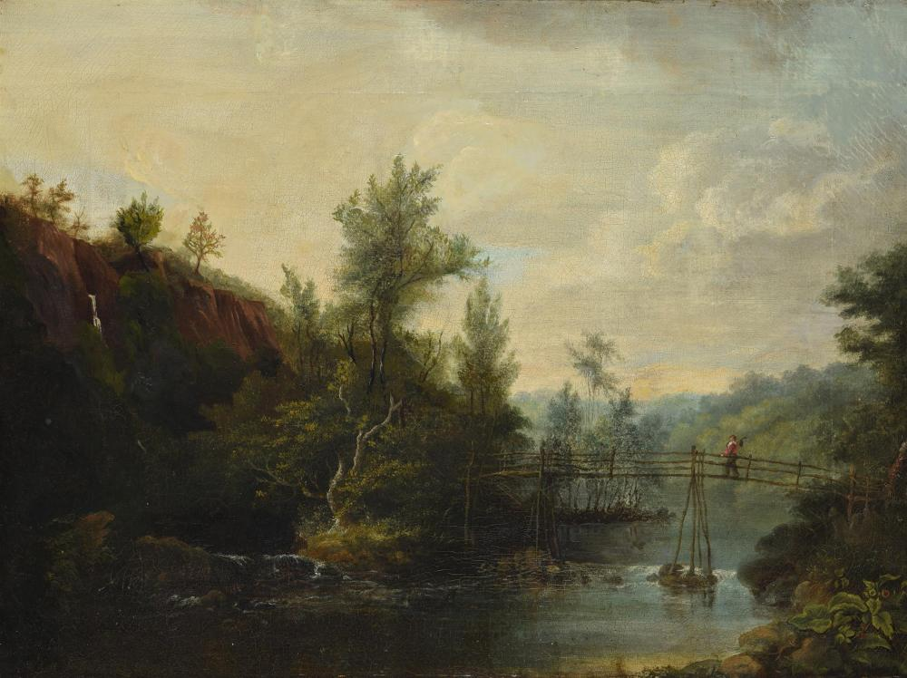 Continental School (19th century), Figure crossing a bridge