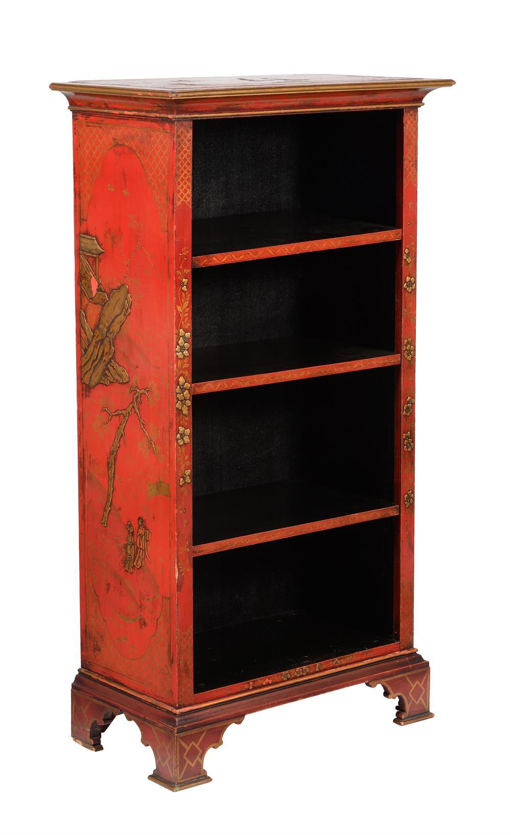 A red lacquer and gilt chinoiserie decorated open bookcase