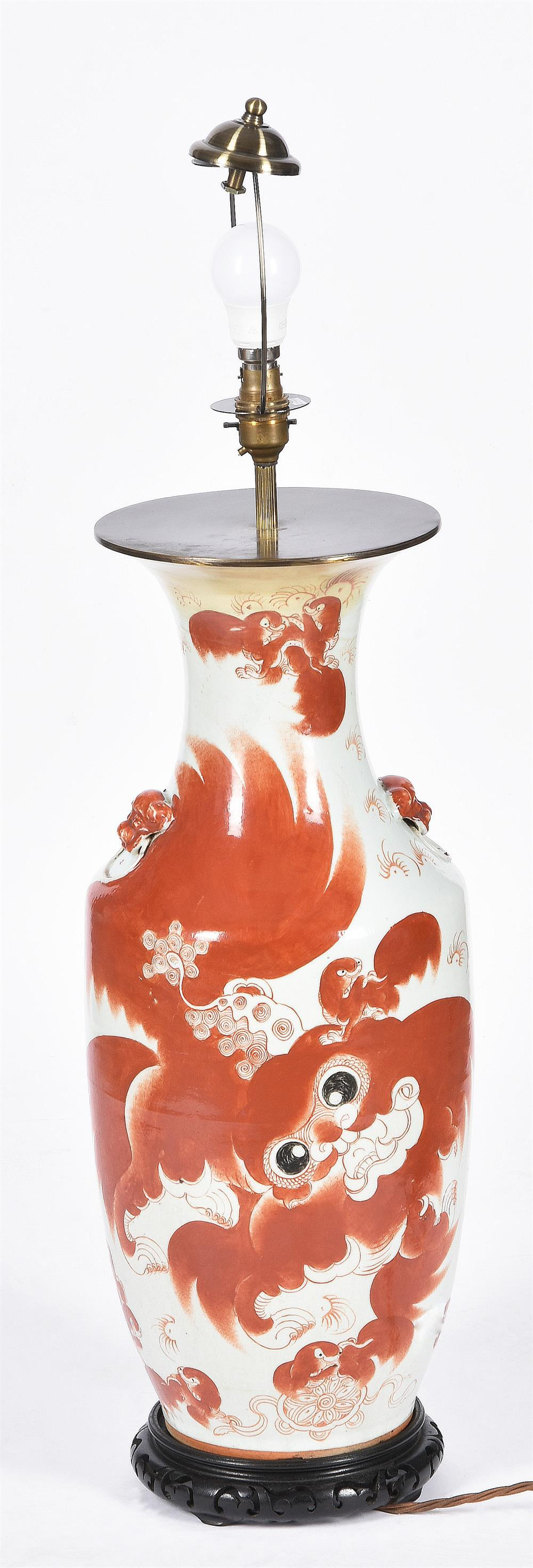A Chinese vase painted with an air dragon