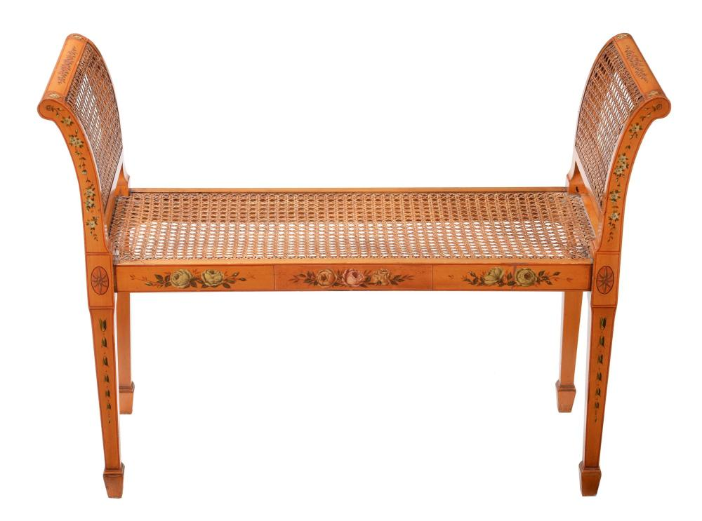 A Sheraton Revival satin walnut and polychrome painted window seat