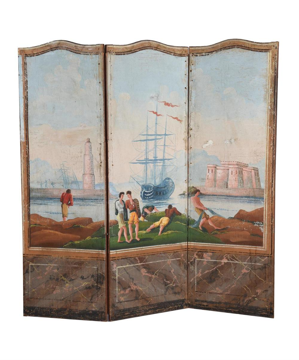 A continental painted three fold screen