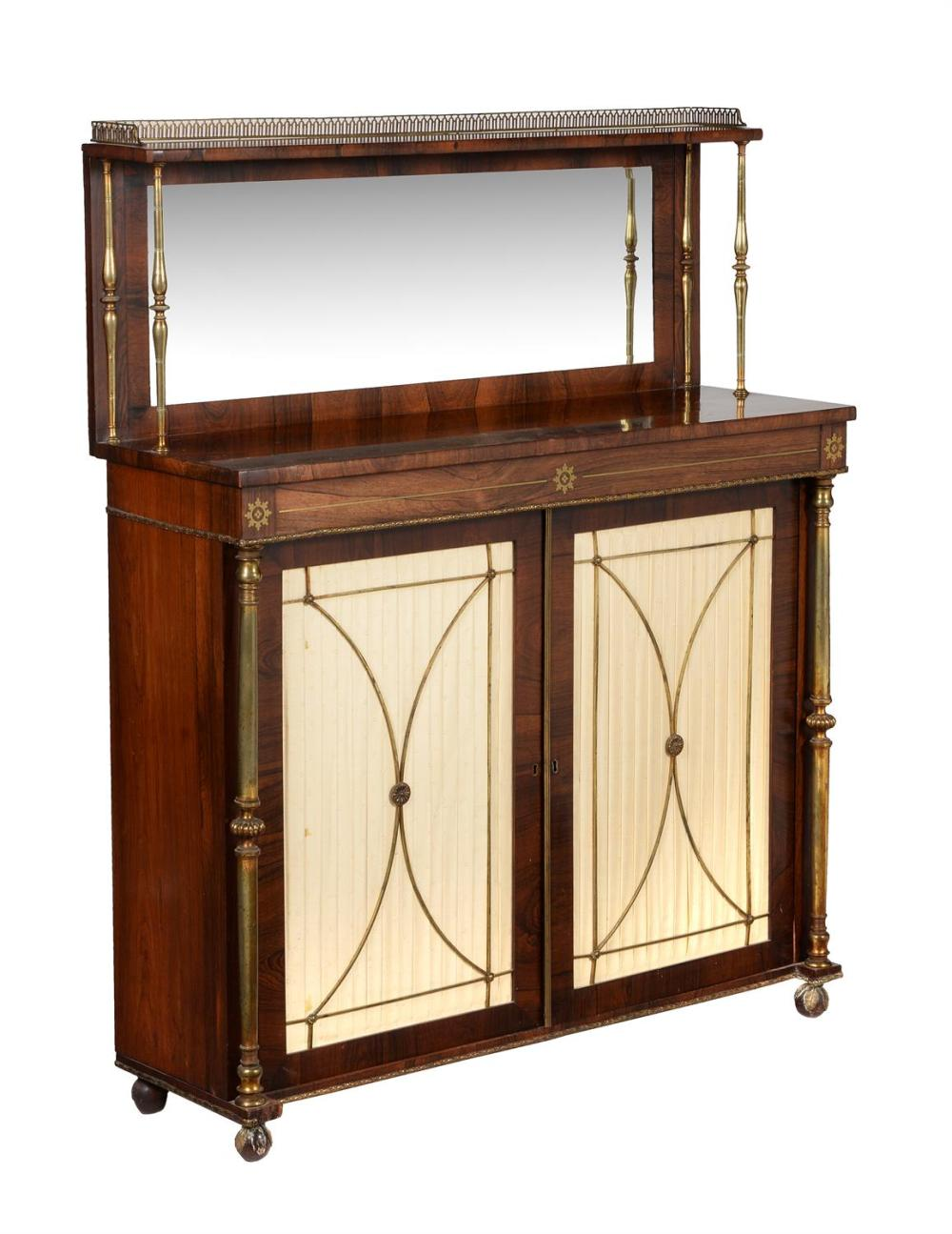Y A Regency rosewood and gilt metal mounted side cabinet