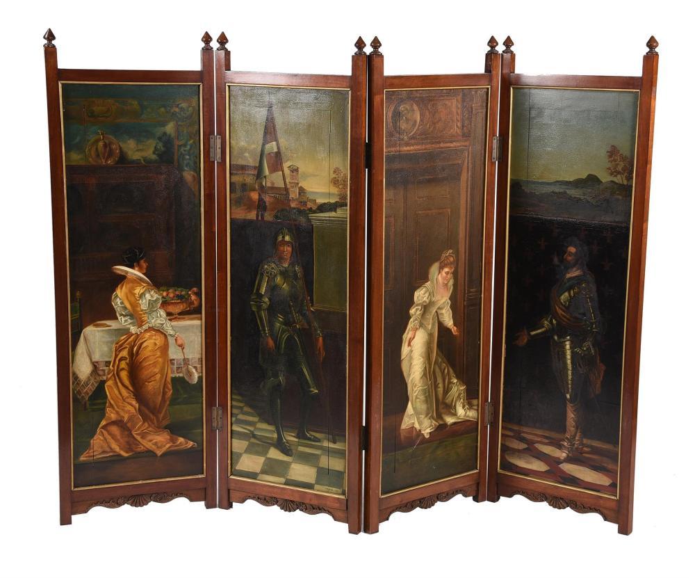A mahogany four-fold screen