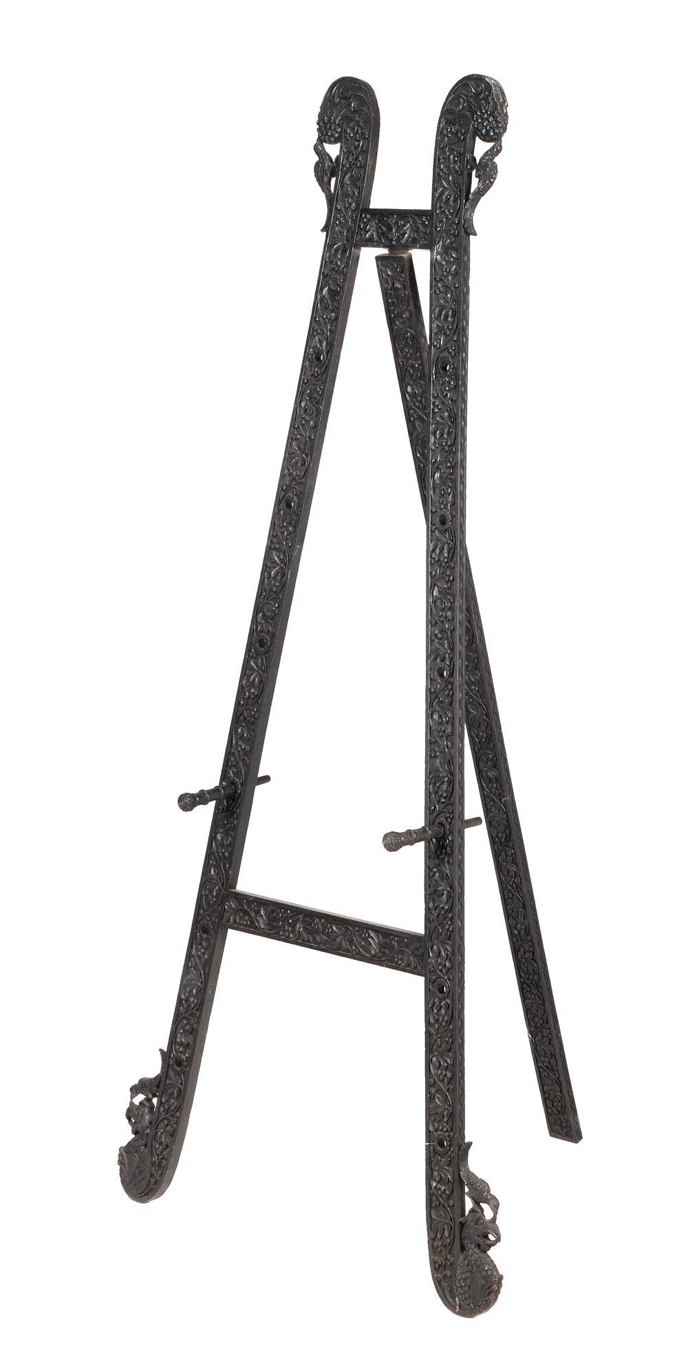 An Anglo Indian carved hardwood easel