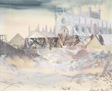λ Leonard Rosoman (British 1913-2012), Exeter Cathedral following a Baedeker raid
