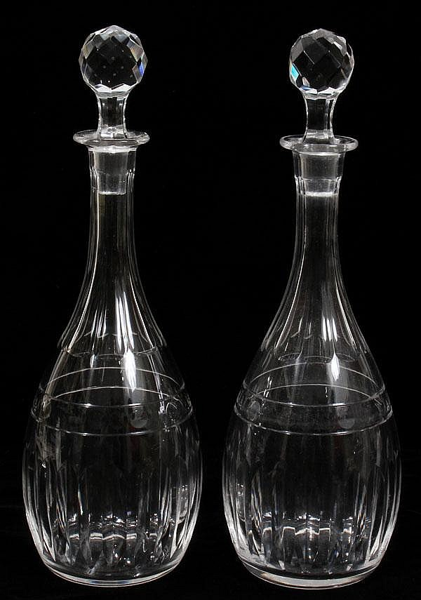 VAL ST. LAMBERT CRYSTAL DECANTERS, TWO, H 13