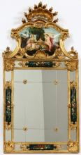 ROCOCO-STYLE GILT PAINTED WALL MIRROR