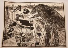"""FRANCOISE GILOT (FRENCH, B. 1921) LITHOGRAPH, ON WOVE PAPER, 1969 H 21.5"""" W 29.5"""" LIONS AND BUTTERFLIES"""