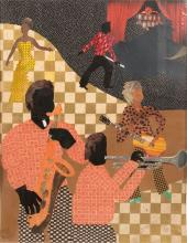 """ALLEN STRINGFELLOW (AMERICAN, 1923-04) COLLAGE ON BOARD, 2003, H 23"""", W 18"""", """"HOUSE OF BLUES"""""""