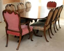 QUEEN ANNE-STYLE MAHOGANY DINING SET, 9 PCS.