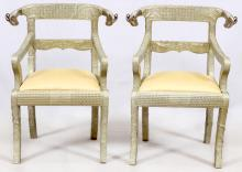 A PAIR OF ANGLO-INDIAN STYLE SILVERED CHAIRS