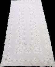 CUT WORK LINEN BANQUET TABLE CLOTH W 68', L 128
