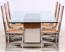GLASS TOP CUSTOM DINING TABLE & CHAIRS, 7 PCS