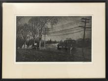 """MARTIN LEWIS, (AMERICAN, 1881–1962) DRYPOINT, ON WOVE PAPER 1933 H 8.9"""" W 14.6"""" WET NIGHT, ROUTE 6"""