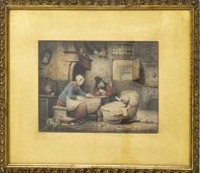 "AIME PEZ, (TOURNAI 1808 - 49) 1832 WATERCOLOR H 7"" W 9"" FAMILY SCENE"