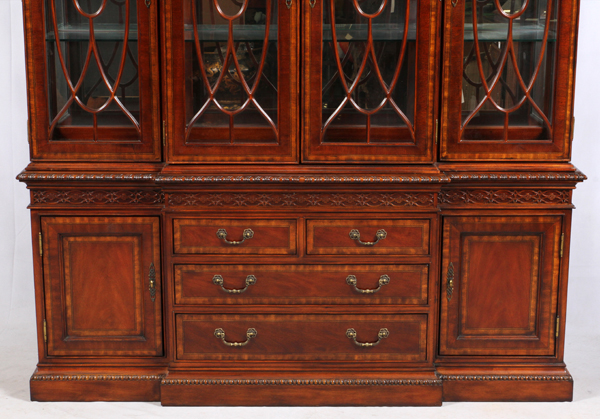 Federal style mahogany and burlwood breakfront for Furniture in federal way