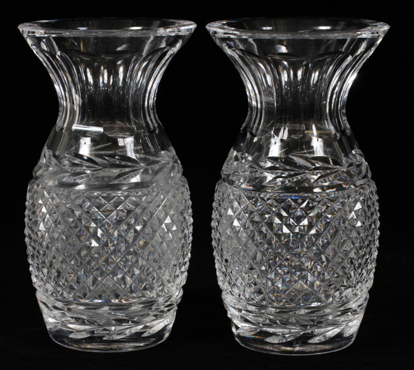Antique Waterford Pineapple Cut Crystal Vases C1930