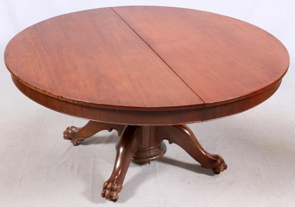 ANTIQUE ROUND MAHOGANY DINING ROOM TABLE C1900