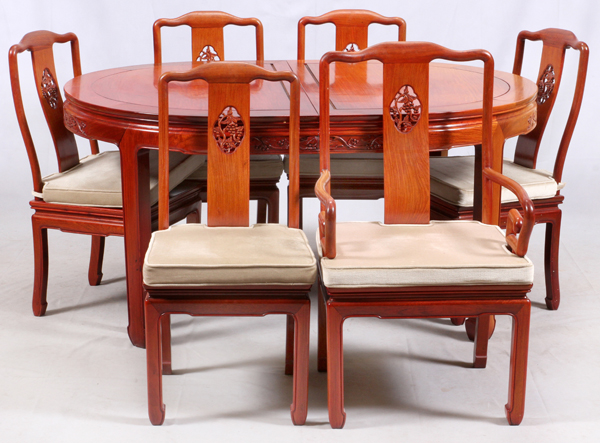 Chinese style mahogany dining table and chairs for Asian style dining table and chairs