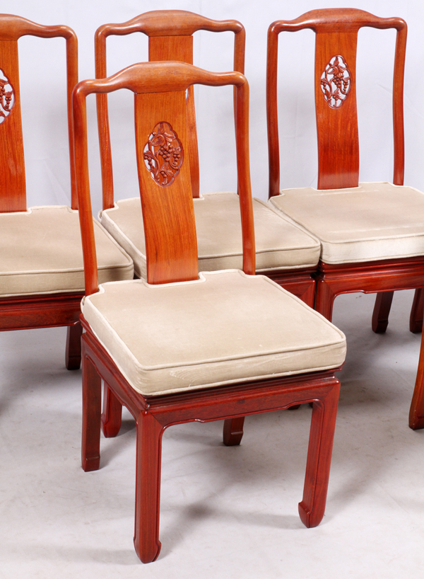 CHINESE STYLE MAHOGANY DINING TABLE AND CHAIRS