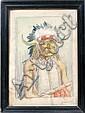JOE SCHEUERLE, WATERCOLOR OF INDIAN CHIEF:, Joseph Scheuerle, Click for value