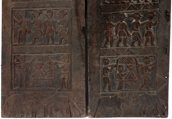 African carved wood panels pair