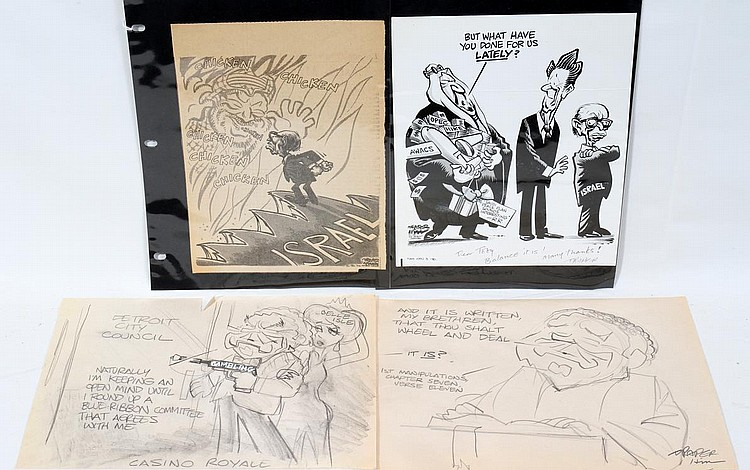 DRAPER HILL [1935-2009] POLITICAL CARTOONS 4 PCS.
